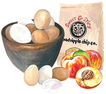 illustration of Local eggs, peaches, and snacks