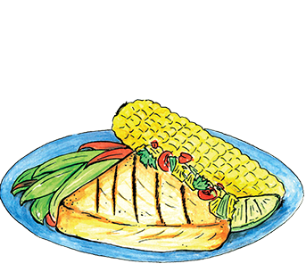 Illustration of Grilled Fish and vegetables