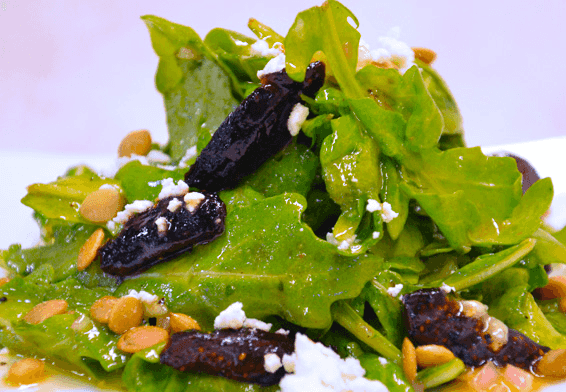 Arugula Salad with Caramelized Figs & Toasted Pepitas