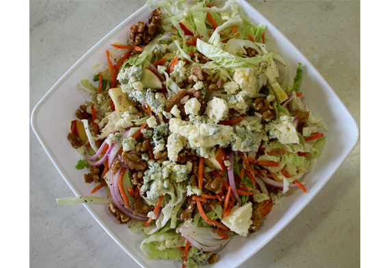 Sweet & Tangy Apple Slaw with Blue Cheese & Walnuts
