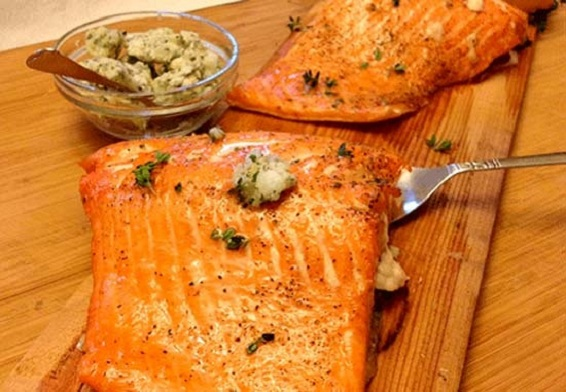 Copper River Salmon with Lemon, Thyme & Coconut Compound Butter Recipe