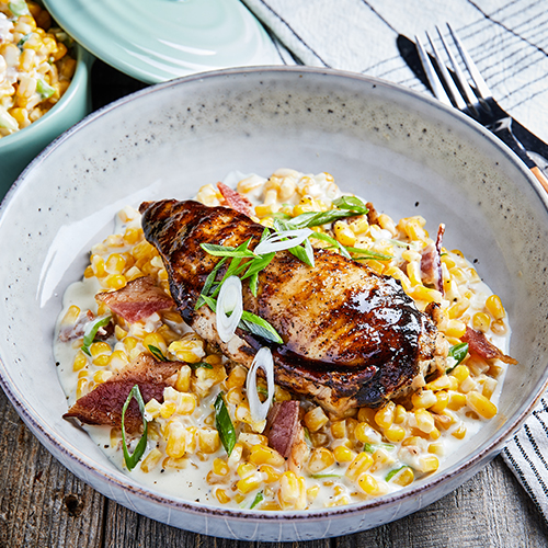 Bourbon Chicken with Creamed Corn