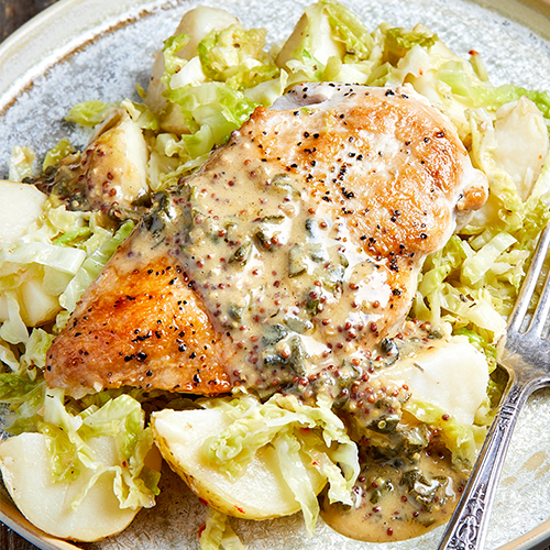 Chicken with Potato Salad and Mustard Sauce