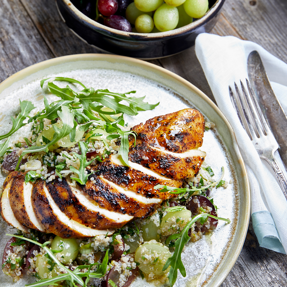 Greek Chicken with Grape Taboule