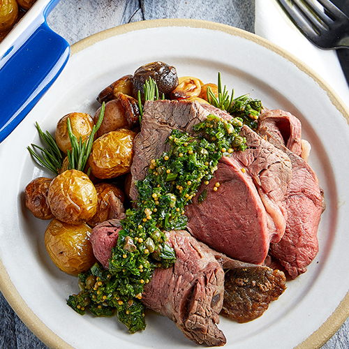 Roast Beef with Mustard Salsa Verde