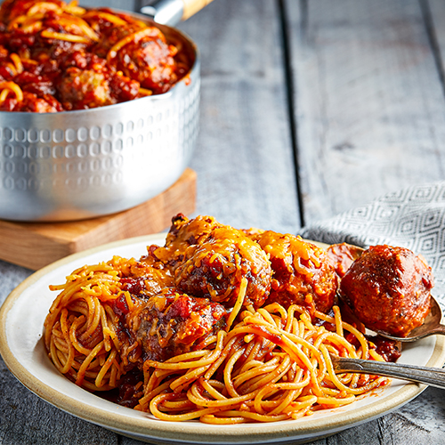 Spaghetti with Barbecue Meatballs