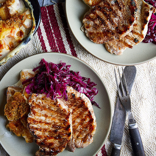 Spiced Pork Chops with Butternut Gratin
