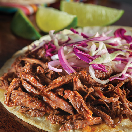 Beer Braised Beef Barbacoa Tacos with Lime Cabbage Slaw